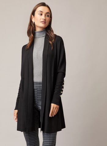 Pearl Detail Long Cardigan, Black,  cardigan, long, pearl, ruched sleeves, shawl collar, fall winter 2020