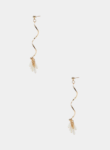 Twisted Metallic Dangle Earrings, Gold, hi-res