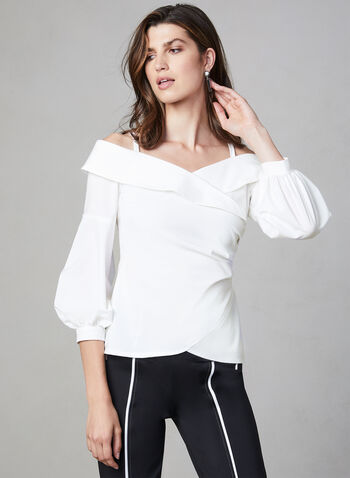 Joseph Ribkoff - Off-the-Shoulder Blouse, White,  long sleeves, balloon sleeves,