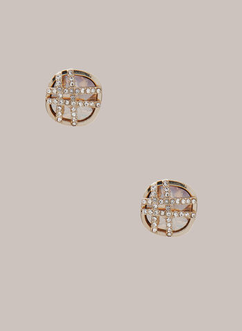Faceted Stone Stud Earrings, Gold,  earrings, stud, faceted stone, round, weave, metallic crystal, fall winter 2020