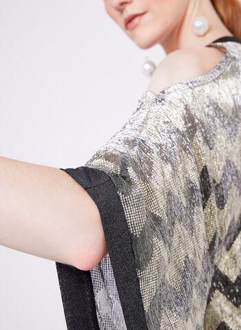 Metallic Cold Shoulder Poncho Blouse, Yellow, hi-res