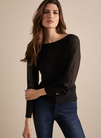 Golden Button Balloon Sleeve Top, Black,  blouse, top, balloon sleeves, chiffon, jersey, button, boat neck, elastic, jersey, mesh, spring summer 2020