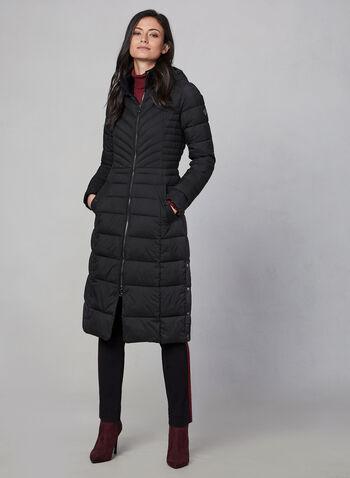Bernardo - Long Quilted Coat, Black,  coat, long, quilted, pockets, storage bag, hood, fall 2019, winter 2019