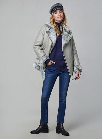 Mock Neck Sweater, Blue,  fall winter 2019, long sleeves, knit, mock neck
