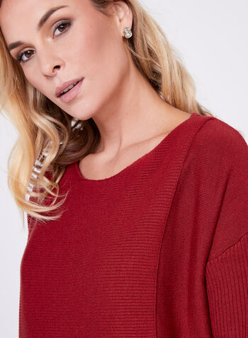 3/4 Sleeve Ribbed Sweater, Orange, hi-res