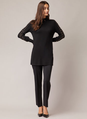 Stud Detail Tunic Sweater, Black,  sweater, tunic, studs, balloon sleeves, knit, mock neck, fall winter 2020