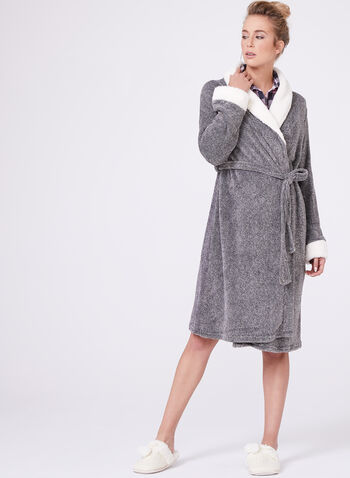 Contrast Trim Dressing Gown, , hi-res