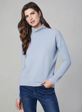 Pull texturé à col cheminée, Bleu,  manches longues, détail zippé, fermeture éclair, automne hiver 2019