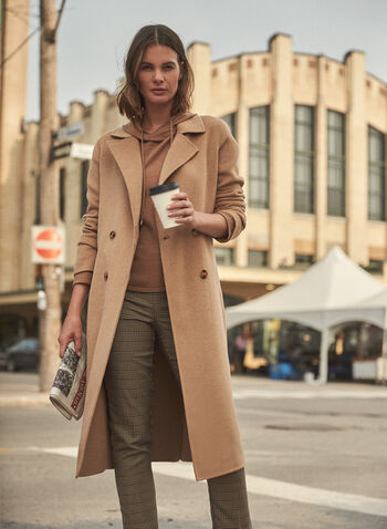 Notch Collar Wool Blend Coat, Beige,  coat, transition coat, long sleeves, notch collar, double breasted, wool blend, fall winter 2021