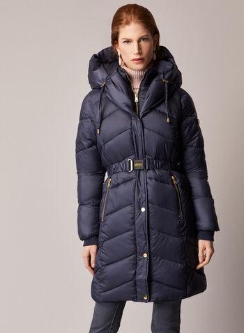 Bernardo - Belted Vegan Down Coat, Blue,  fall winter 2020, coat, bernardo, quilted, down, vegan, polyester, nylon, hood, pockets, winter coat