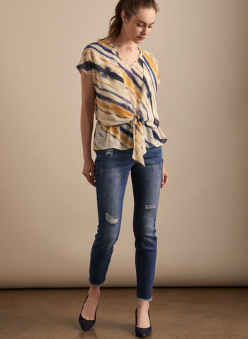Blouse rayée superposée, Multi,  blouse, col v, manches courtes, rayures, lien, printemps été 2020