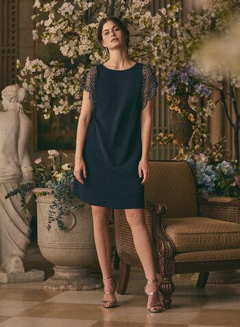 BA Nites - Robe à manches ornementées, Bleu,  robe cocktail, occasion, robe, manches courtes, pierres, cristaux, perles, néoprène, printemps été 2021