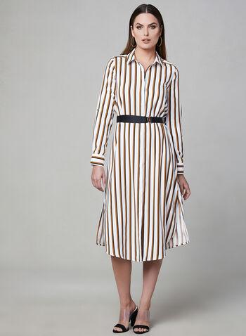 Robe chemisier à rayures et ceinture, Jaune, hi-res,  midi, boutons, printemps 2019, motif, ruban, manches longues, manches ¾