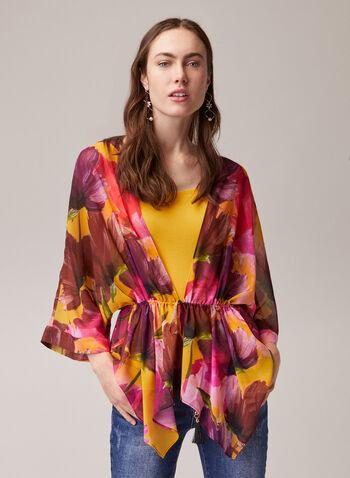 Blouse kimono à fleurs, Multi,  blouse, kimono, fleurs, mousseline, printemps été 2020