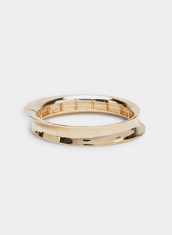 Bracelet métallique incurvé, Or, hi-res