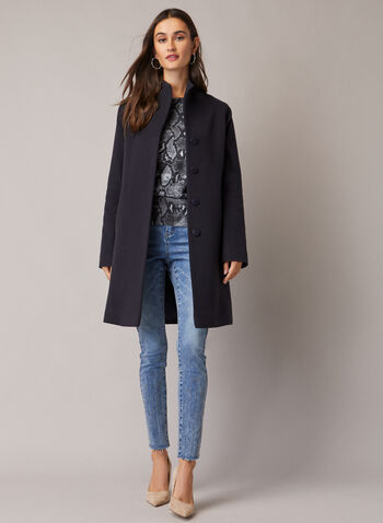 Mallia - Wool & Cashmere Blend Coat, Blue,  coat, high collar, pockets, wool, cashmere, fall winter 2020
