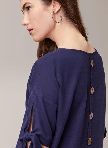 Linen Blend Knotted Sleeve Blouse, Blue,  top, blouse, short sleeves, knot, slit, linen, high low, boat neck, button detail, tortoiseshell, spring summer 2020