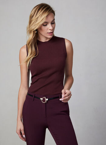 Pull sans manches en tricot, Violet,  pull, sans manches, col montant, tricot côtelé, automne hiver 2019