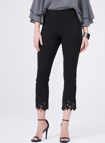 Embroidered Trim Pull-On Capris, Black, hi-res