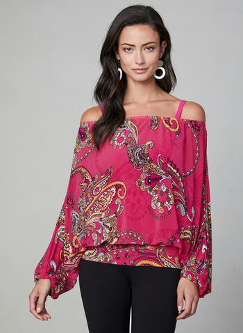 Paisley Print Blouse, Multi, hi-res,  short blouse, short top