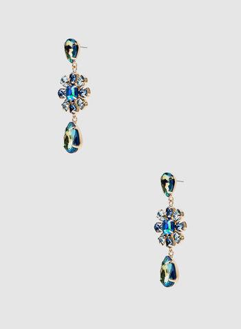 Boucles d'oreilles à pierres facettées, Bleu, hi-res
