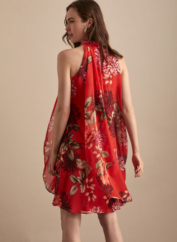 Floral Print Mock Neck Dress, Red,  day dress, mock neck, sleeveless, floral print, chiffon, overlay, keyhole, spring summer 2020