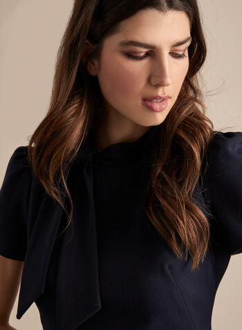 Maggy London - Short Sleeve Bow Detail Dress, Blue,  dress, sheath, short sleeves, puffed shoulders, bow, tie, crepe, spring summer 2020