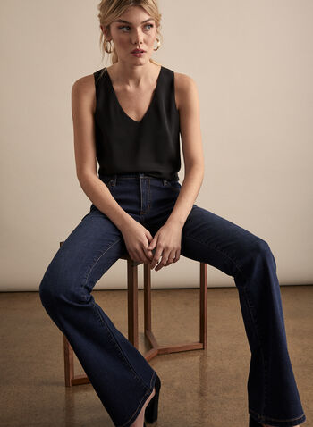 Sleeveless Crepe Blouse, Black,  blouse, top, sleeveless, V-neck, crepe, spring 2020