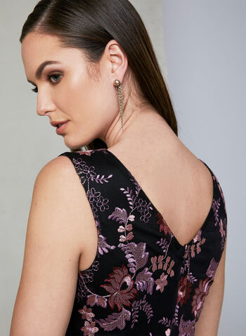 Ignite Evenings - Floral Embroidered Mesh Dress, Purple, hi-res