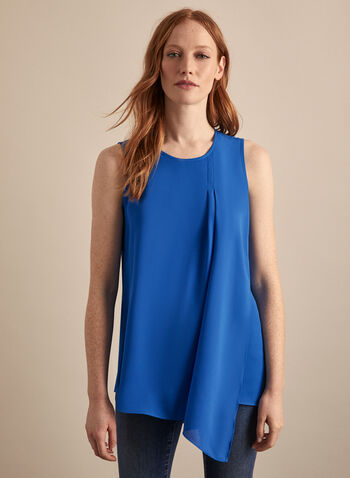 Sleeveless Layered Crepe Blouse, Blue,  blouse, top, crepe, layered, asymmetric, wrap, sleeveless, pleated, spring summer 2020