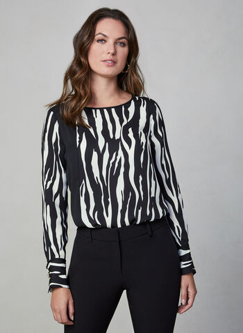 Zebra Print Blouse, White,  zebra print, animal print, crystal detail, transparent, long sleeves, fall 2019, winter 2019
