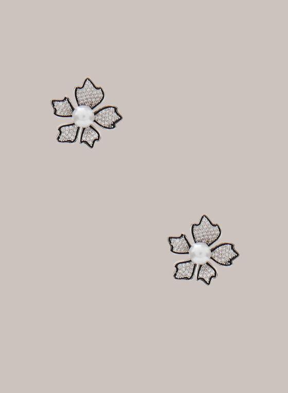 Boucles d'oreilles florales à perles, Blanc cassé