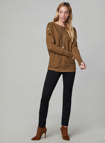 Ribbed Dolman Sleeve Sweater, Brown,  long sleeves, knit, ribbed, dolman sleeves, buttons, fall 2019, winter 2019