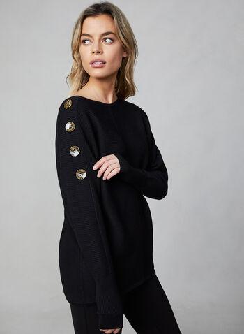 Pull en tricot à manches dolman, Noir,  tricot nervuré, tricot texturé, détails de boutons, boutons décoratifs, encolure ronde, manches longues, automne hiver 2019