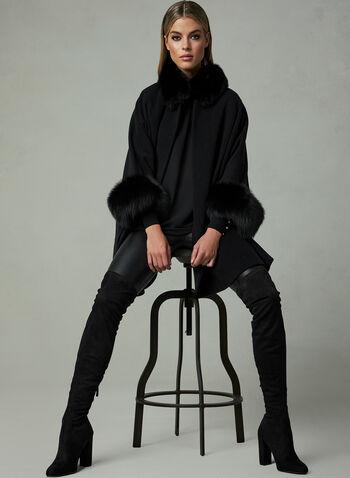 Mallia – Fox Fur Trim Wool Cape, Black, hi-res