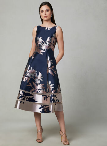 Adrianna Papell - Floral Print Fit & Flare Dress, Blue, hi-res,