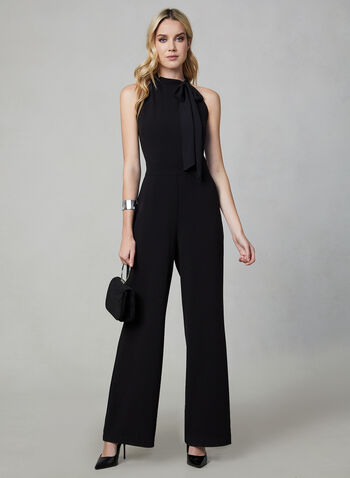 Sleeveless Jumpsuit , Black,  sleeveless, sleeveless jumpsuit, jumpsuit, wide leg, wide leg jumpsuit, chiffon, fall 2019, winter 2019