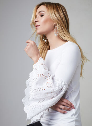 Bell Sleeve Top, White,  top, bell sleeves, eyelets, boat neck, fall 2019