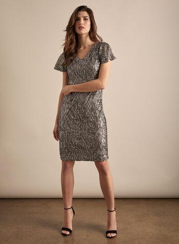 Alex Evenings - Sequin Cocktail Dress, Silver,  dress, cocktail, column, short sleeves