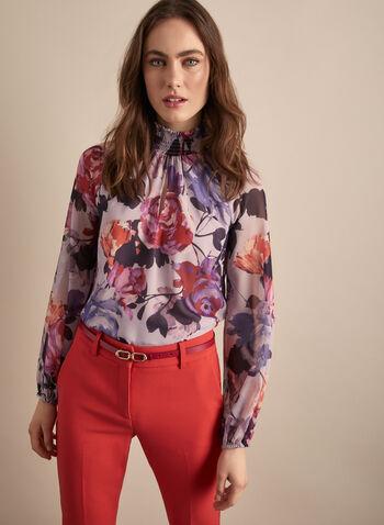 Blouse fleurie à col montant, Violet,  blouse, manches ballon, fleurs, col montant, smocké, mousseline, printemps été 2020