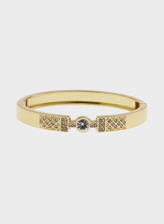 Bracelet à charnière ornée de cristaux, Or, hi-res