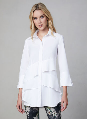 Joseph Ribkoff –3/4 Sleeve Tiered Shirt, White,  shirt, long blouse, tunic blouse
