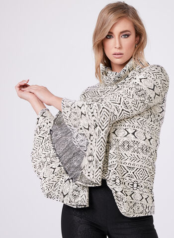 Bell Sleeve Cowl Neck Top, , hi-res