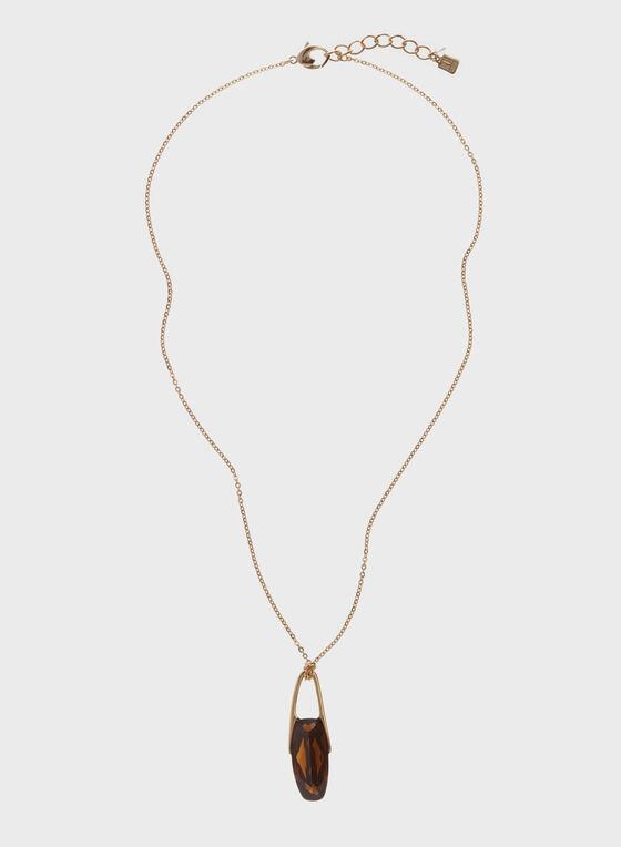 Robert Lee Morris - Collier avec pendentif pierre facettée, Brun, hi-res
