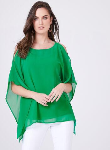 Blouse poncho à épaules ajourées, Vert, hi-res