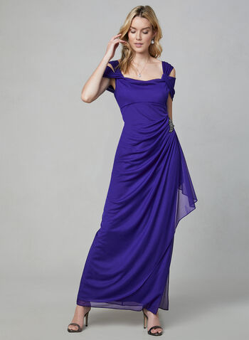 Alex Evenings - Draped Evening Dress, Purple, hi-res
