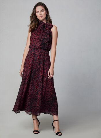 Robe en mousseline à imprimé animal, Rouge,  robe, automne hiver 2019, imprimé animal, sans manches, mousseline