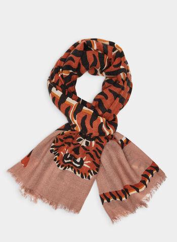 Oblong Tiger Print Scarf, Orange,  scarf, oblong scarf, long scarf, printed scarf, animal print, tiger print, tiger, fall 2019, winter 2019