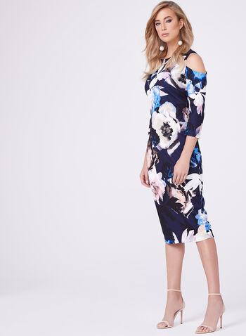Floral Print Cold Shoulder Sheath Dress, , hi-res