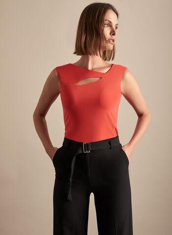 Haut ajouré à col asymétrique, Orange,  haut, mancherons, col asymétrique, ajour, jersey, printemps été 2020